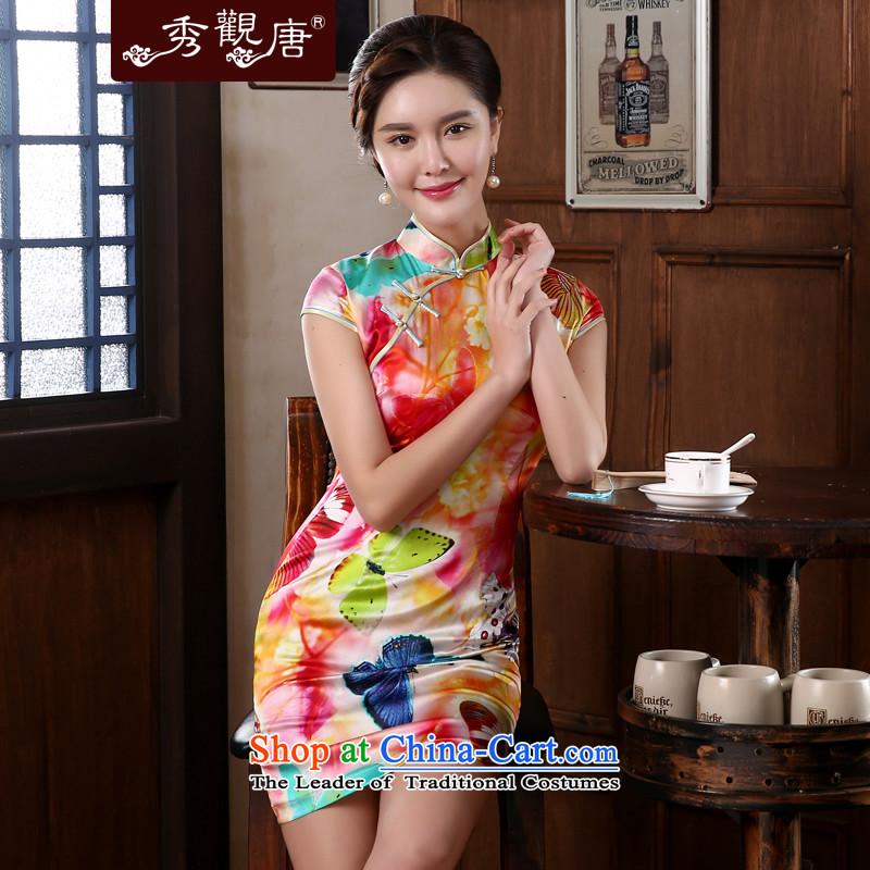 -Sau Kwun Tong- Elizabeth Summer Dream 2014 retro style silk cheongsam dress herbs extract retro dresses QD4139 SUIT聽XL