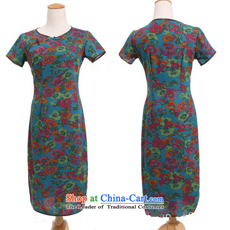 In Wisconsin, 2015 Jie spring and summer female China wind improved female cotton linen round-neck collar short-sleeved manually. long skirt female qipao CQP645 Yat blue round-neck collar M Cheng Kejie, the , , , shopping on the Internet