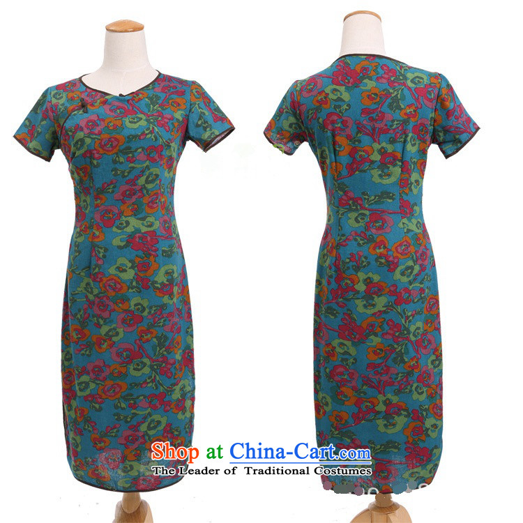 In Wisconsin, 2015 Jie spring and summer female China wind improved female cotton linen round-neck collar short-sleeved manually. long skirt female qipao CQP645 Yat blue round-neck collar M picture, prices, brand platters! The elections are supplied in the national character of distribution, so action, buy now enjoy more preferential! As soon as possible.