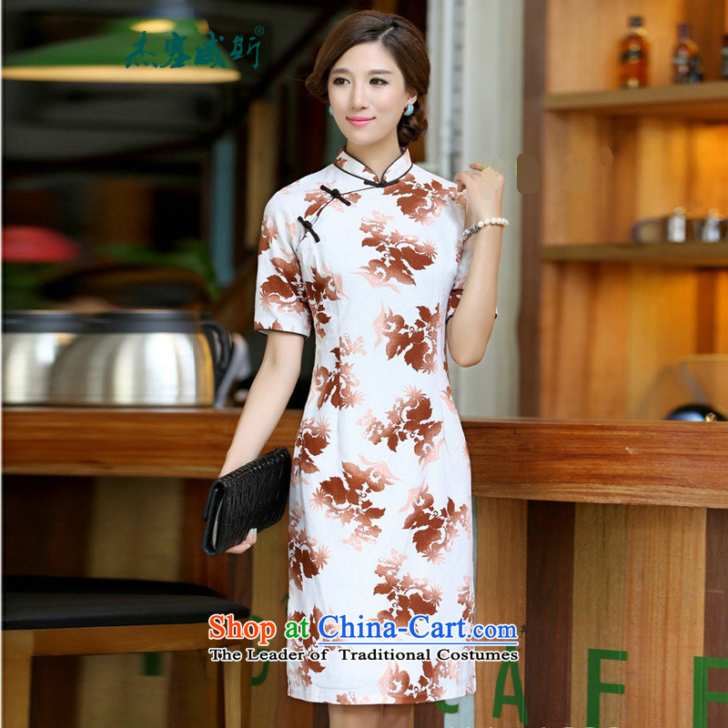 In Wisconsin,聽2015 Jie spring and summer female China wind-cotton linen collar short-sleeved manually and knee in long skirt female qipao聽CQP555聽Haruki Mock-neck聽M