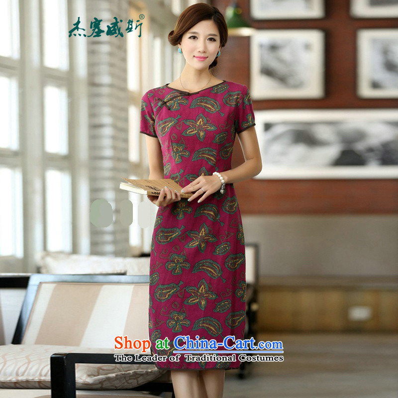 In Wisconsin,?2015 Jie spring and summer China wind improved female cotton linen round-neck collar short-sleeved manually in the linen detained long cheongsam dress?QP048 female?flowers Yao round-neck collar?M
