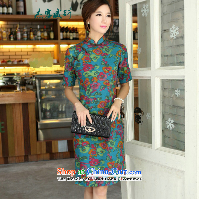 In Wisconsin,聽2015 Jie spring and summer China wind-cotton linen collar short-sleeved manually and knee in long cheongsam dress female聽QP701聽Yat blue collar聽XL
