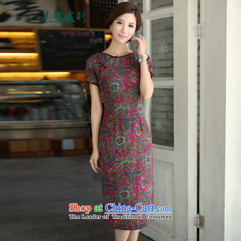 In Wisconsin,?2015 Jie spring and summer China wind improved female cotton linen round-neck collar short-sleeved manually in the linen detained long cheongsam dress female?QP490?endeavors round-neck collar?S