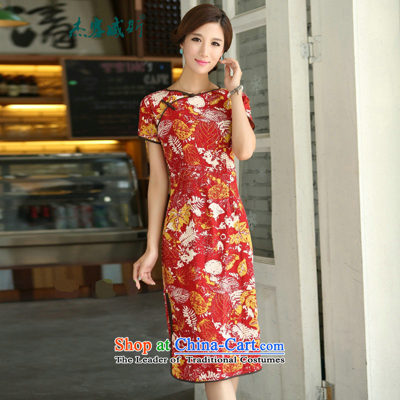 In Wisconsin,�15 Jie spring and summer China wind improved female cotton linen round-neck collar short-sleeved manually in the linen detained long cheongsam dress燪P391 female燞ong Feng round-neck collar燬