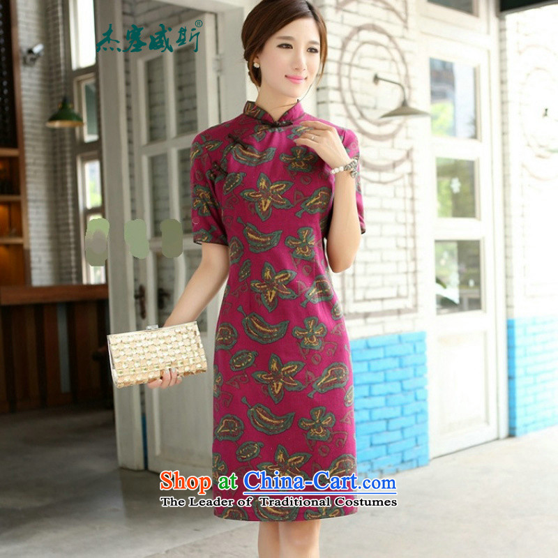 In Wisconsin,聽2015 Jie spring and summer New China wind-cotton linen, leaders and knee in manual long cheongsam dress聽CQP357聽yao hua Mock-neck聽S