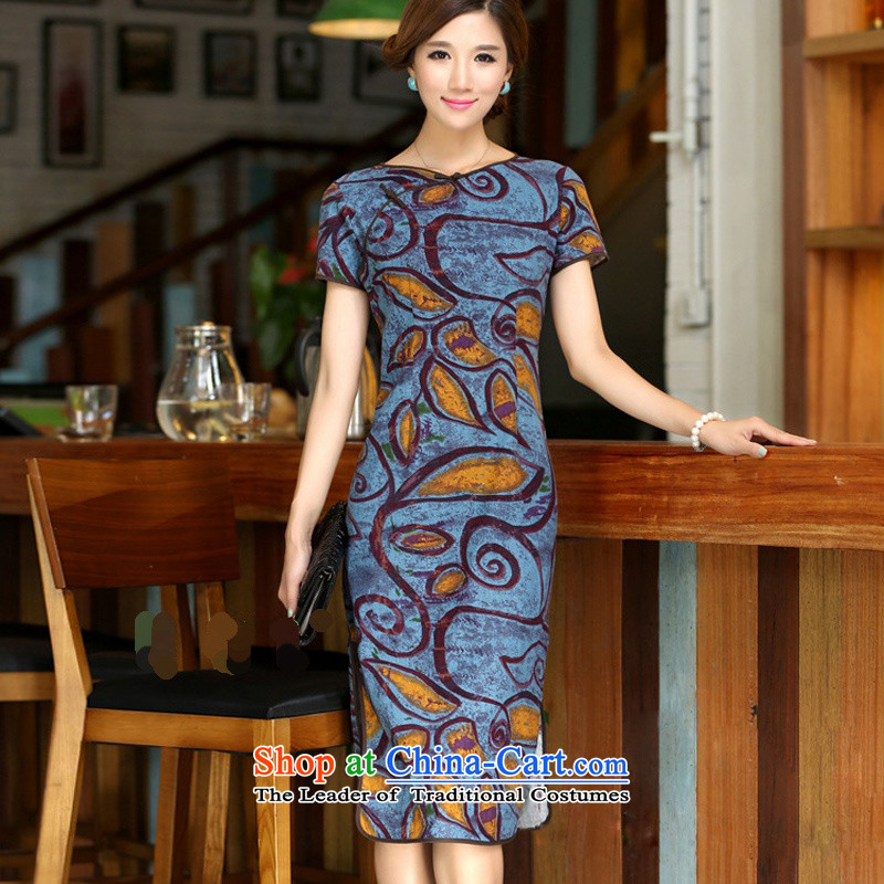 Darth their?new spring and summer 2015 for women national long neck tie improved stylish Sau San manually linen dresses qipao?CCI139?figure?XL