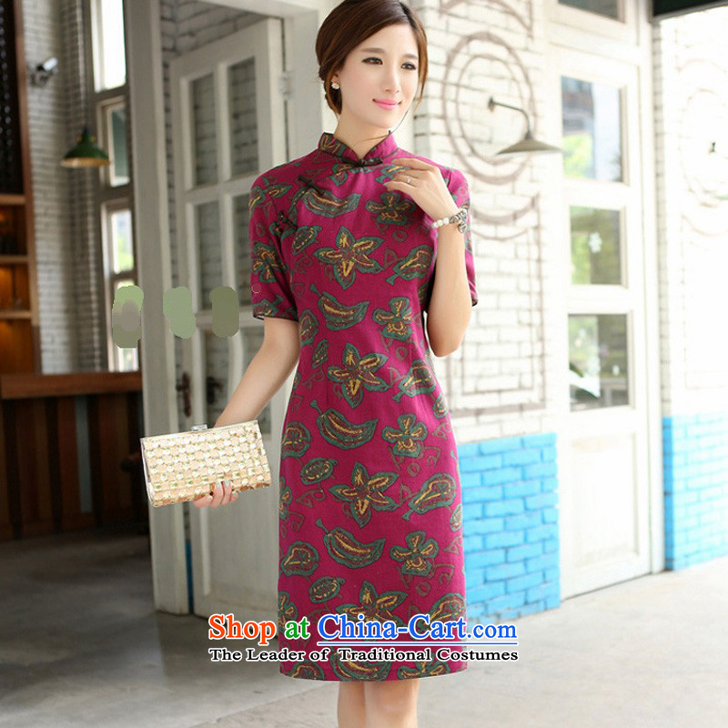 Darth their�15 Spring_Summer female China wind-cotton linen, leaders and knee in manual long cheongsam dress燙QP357爕ao hua Mock-neck燣