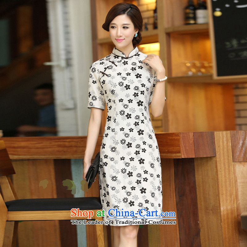 Darth their?2015 Spring/Summer female China wind cotton linen collar manually deduction cherry blossoms in long dresses qipao?CJZ396?figure?S