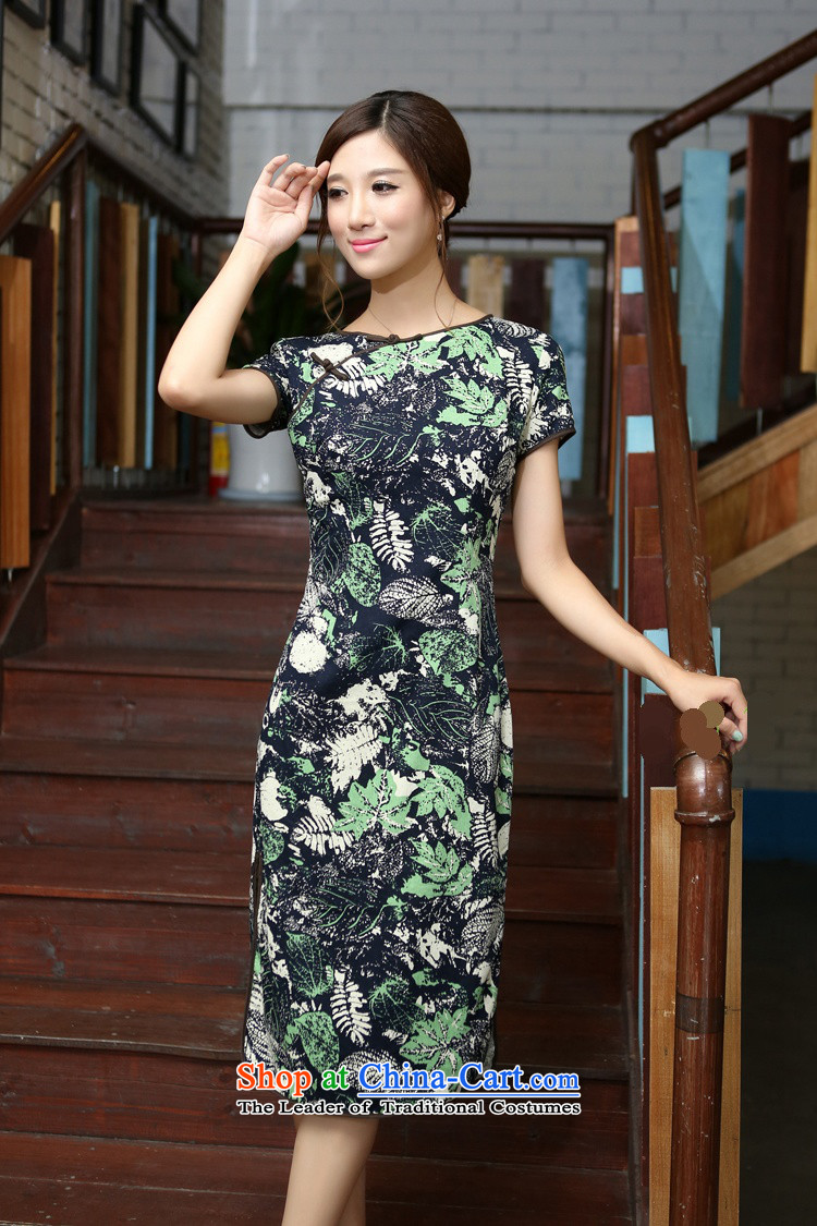 Darth their 2015 Spring/Summer female China wind-cotton linen flowers and leaves round-neck collar and knee in manual long skirt qipao CMA408 figure S picture, prices, brand platters! The elections are supplied in the national character of distribution, so action, buy now enjoy more preferential! As soon as possible.