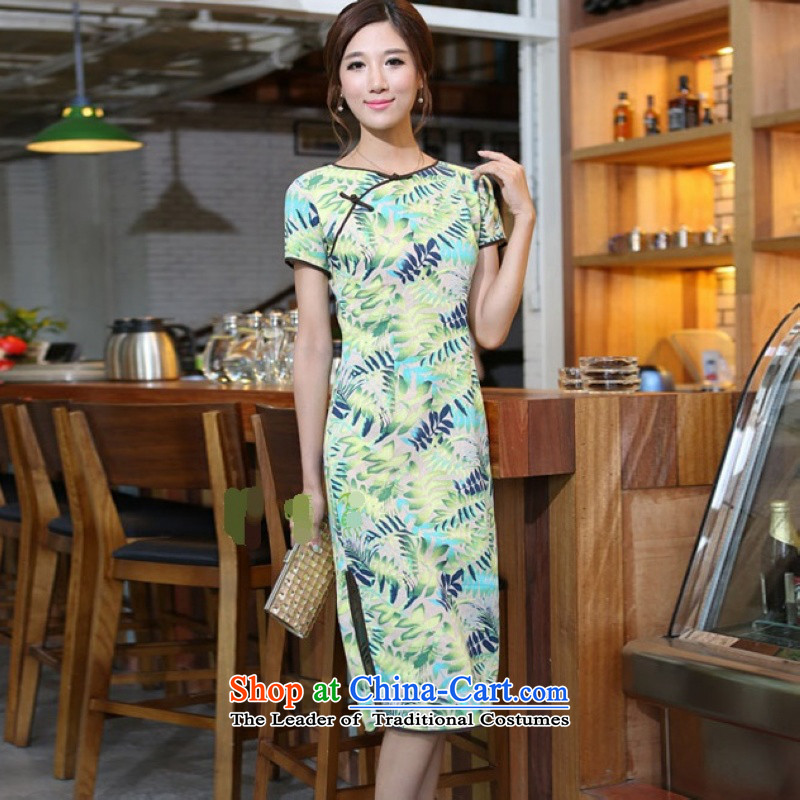 Darth their?2015 Spring/Summer female China wind cotton linen leaves take round-neck collar and knee in manual long skirt qipao CNU581 figure?XXL