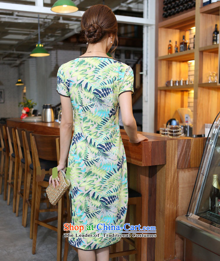 Darth their 2015 Spring/Summer female China wind cotton linen leaves take round-neck collar and knee in manual long skirt qipao CNU581 figure XXL picture, prices, brand platters! The elections are supplied in the national character of distribution, so action, buy now enjoy more preferential! As soon as possible.