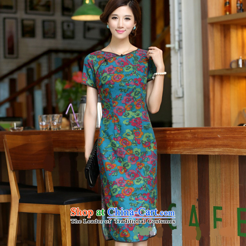 Darth their?2015 Spring/Summer female China wind improved female cotton linen round-neck collar short-sleeved manually. long skirt female qipao?CQP645?Yat blue round-neck collar?S