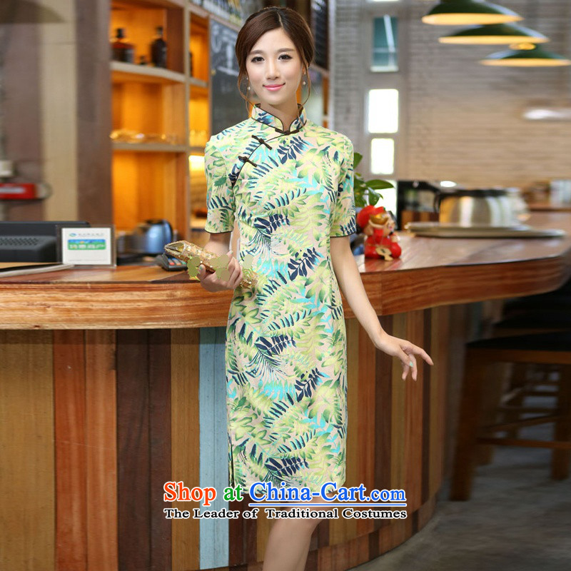 Darth their?2015 Spring/Summer female China wind-cotton linen leaves take a mock-neck and knee in manual long qipao?CQM648?figure?M