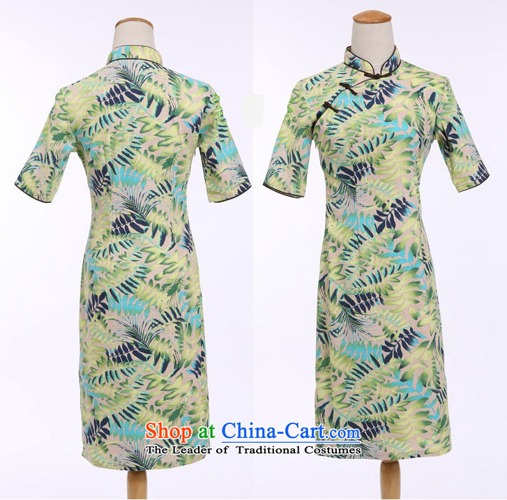 Darth their 2015 Spring/Summer female China wind-cotton linen leaves take a mock-neck and knee in manual long qipao CQM648 figure M picture, prices, brand platters! The elections are supplied in the national character of distribution, so action, buy now enjoy more preferential! As soon as possible.