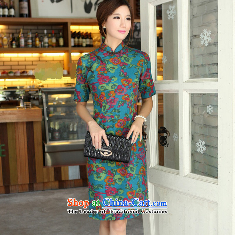 Darth their?2015 Spring/Summer female China wind-cotton linen collar short-sleeved manually and knee in long cheongsam dress female?QP701?Yat blue collar?XXL