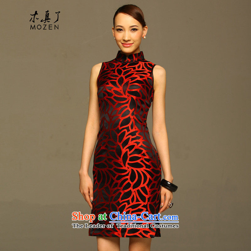 The MOZEN2015 wood really new short-sleeved elegant qipao gown round damask Female dress package mail?11,528 incoming exams 01 black?XXXL Safflower