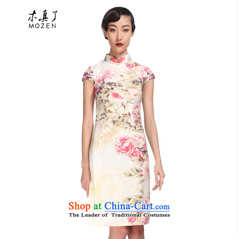 Wooden spring and summer of 2015 really new elegant qipao_ Improvement of Sau San short skirt�003 Female Chinese 13 Light Yellow燲L