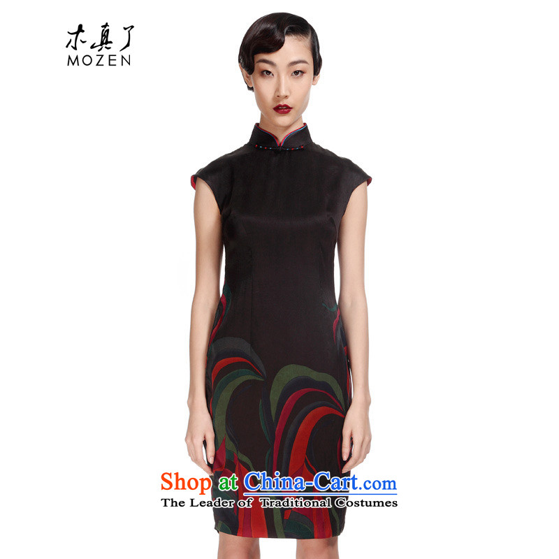 The women's true : 2015 new summer of Chinese silk cheongsam dress incense cloud yarn short skirt) Mr Ronald 01087 01 black flower?M