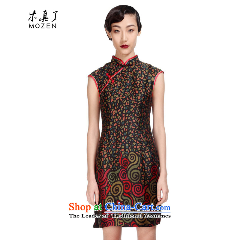 The new 2015 really wood for women piping Chinese silk cheongsam dress suit elegant floral package mail�11570 01 Black�M