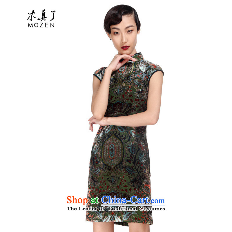 Wooden spring and summer of 2015 really new cheongsam improved silk short for women elegant Chinese Dress Package Mail�916 14 deep green燤