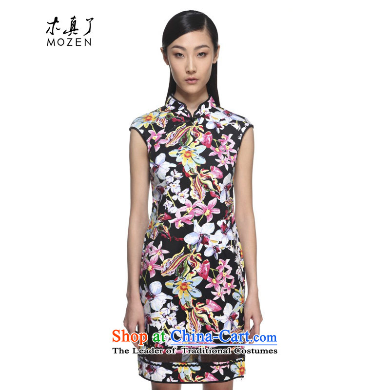 Wooden spring and summer of 2015 really new Chinese cotton yarn short, Spell Checker suit cheongsam�21979 - 1 Black�XL