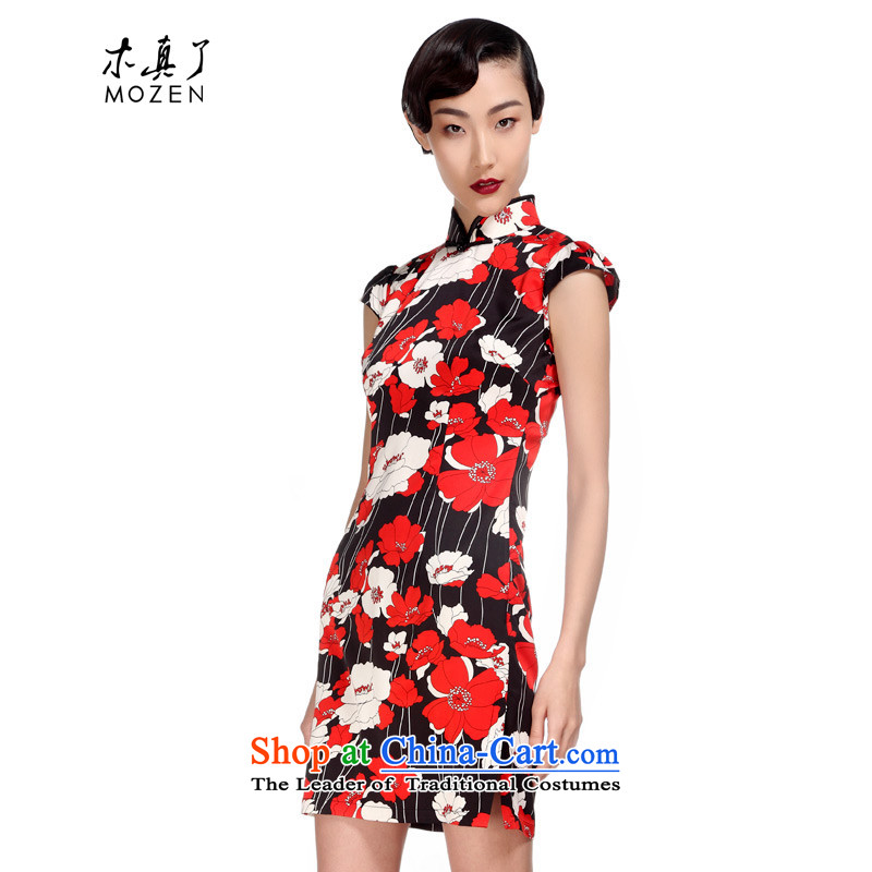 Wooden spring and summer of 2015 really new Chinese qipao improved female Sau San short skirt�428 01 Black燤
