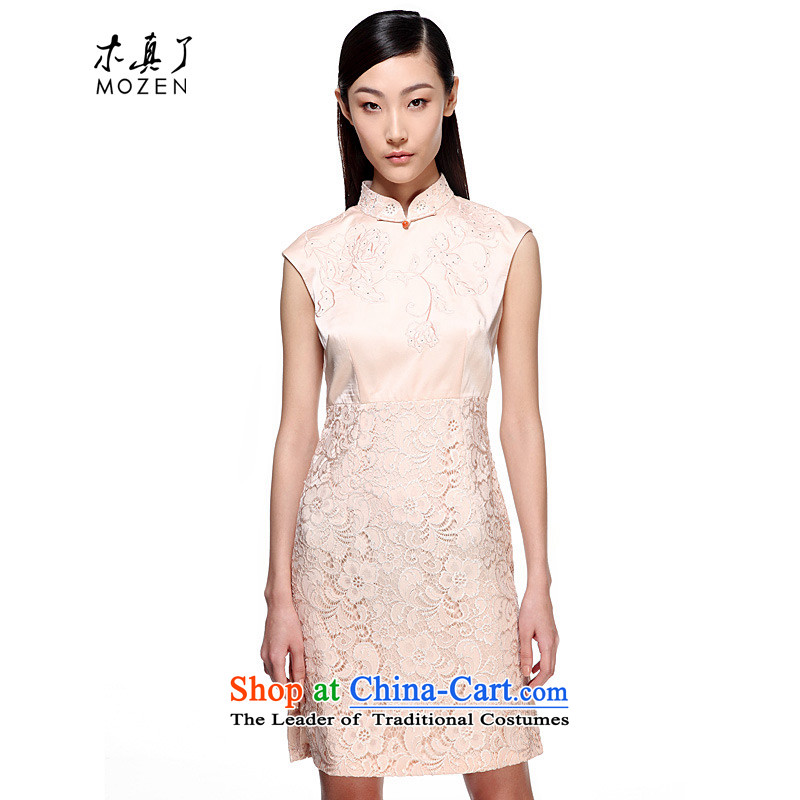 Wooden spring and summer of 2015 really new lace female dresses stitching engraving improved cheongsam dress 21952 03 Milky White�XL