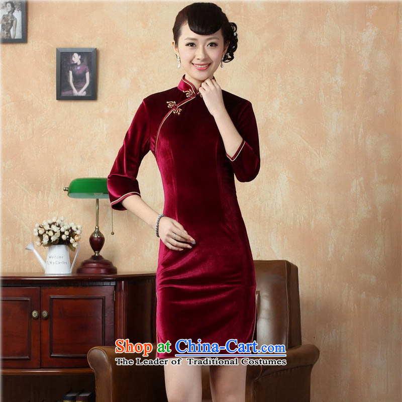 Ko Yo Overgrown Tomb Gigi Lai�15 Autumn and Winter Female retro 7 cuff improved solid color Stretch Wool forming the skirt Chinese Kim superior short skirt TD0005 QIPAO�0_3XL deep red