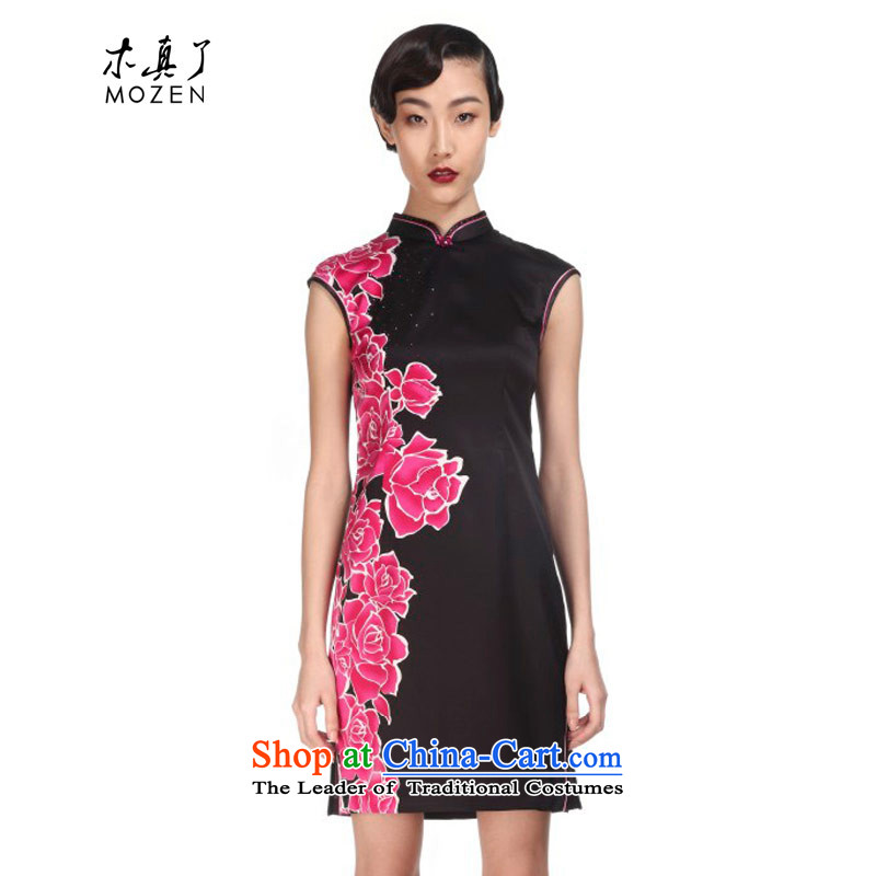 Wooden definitely that the spring and summer of 2015 New MOZEN of Chinese short of qipao improved stamp female skirt?21976 01 black?XXL