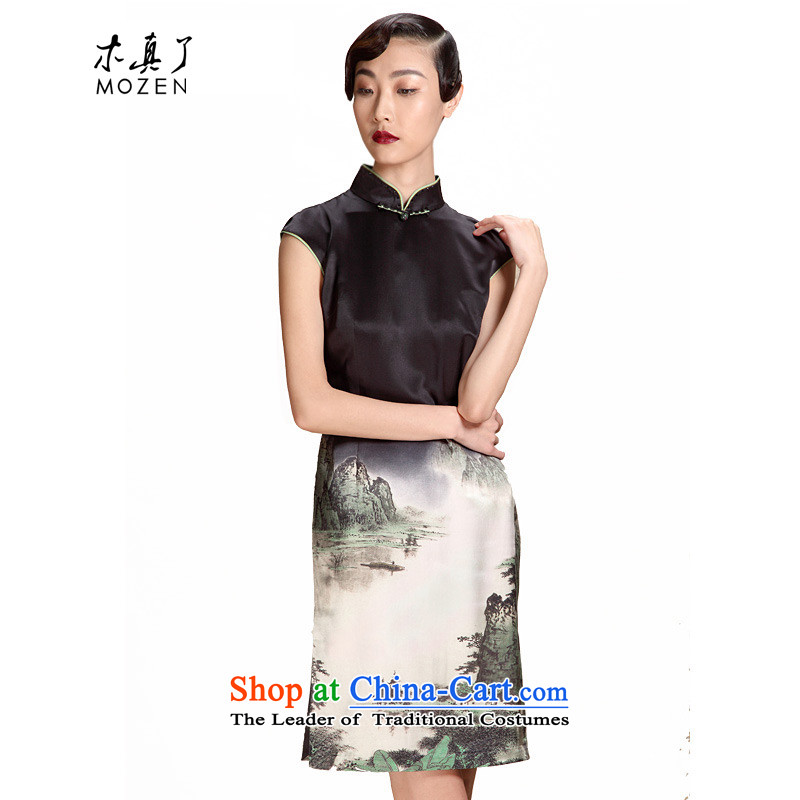 The MOZEN2015 wood really spring and summer New China wind Silk Cheongsam, Sau San short skirt�309 Female 01 black燲xl_a_