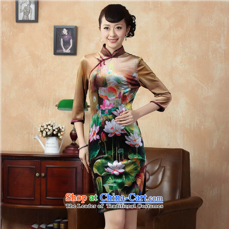 Ko Yo Overgrown Tomb Gigi Lai�15 autumn and winter retro 7 cuff improved stamp Stretch Wool cheongsam dress Chinese Kim superior short skirt TD0009 QIPAO�5_S Tan