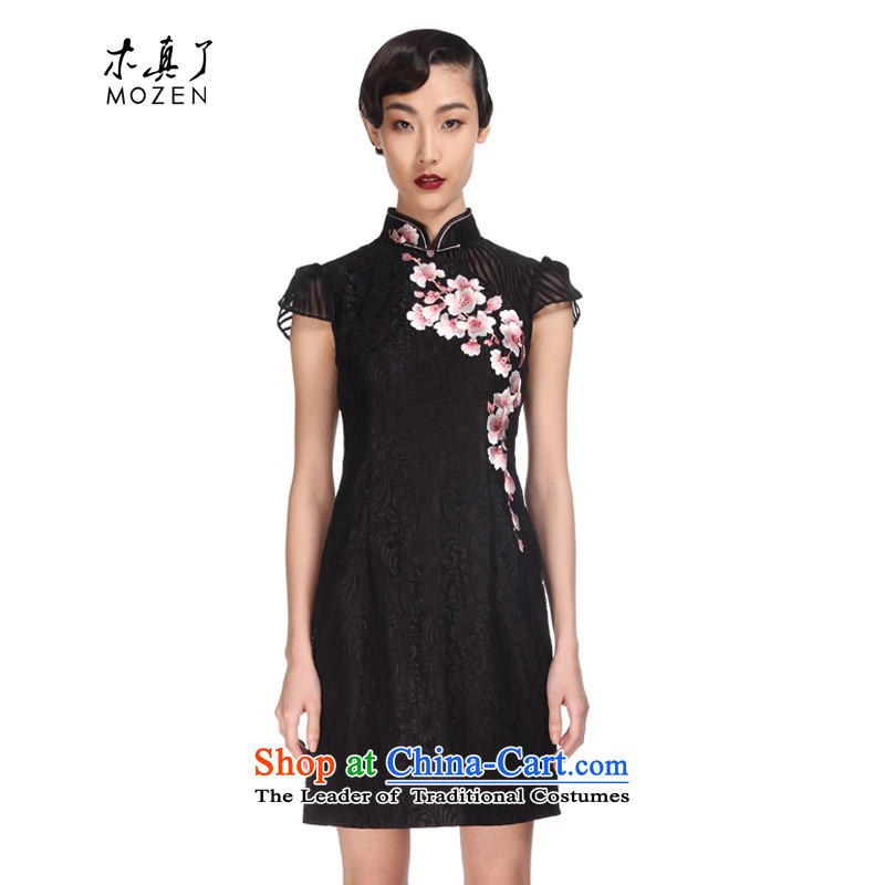 The MOZEN2015 wood really spring and summer new short-sleeved elegant embroidery dresses cheongsam dress package mail?32380 01 black?L
