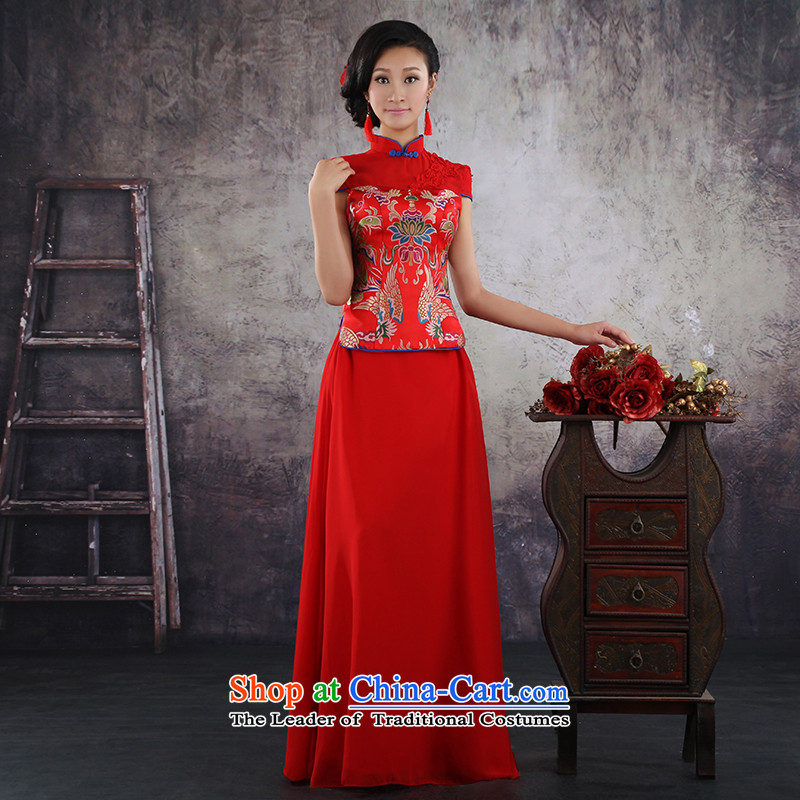 Embroidered brides is�2015 Summer new cheongsam Chinese short-sleeved longfeng marriage use red dress bride toasting champagne improved services tailor-made short-sleeve does not allow
