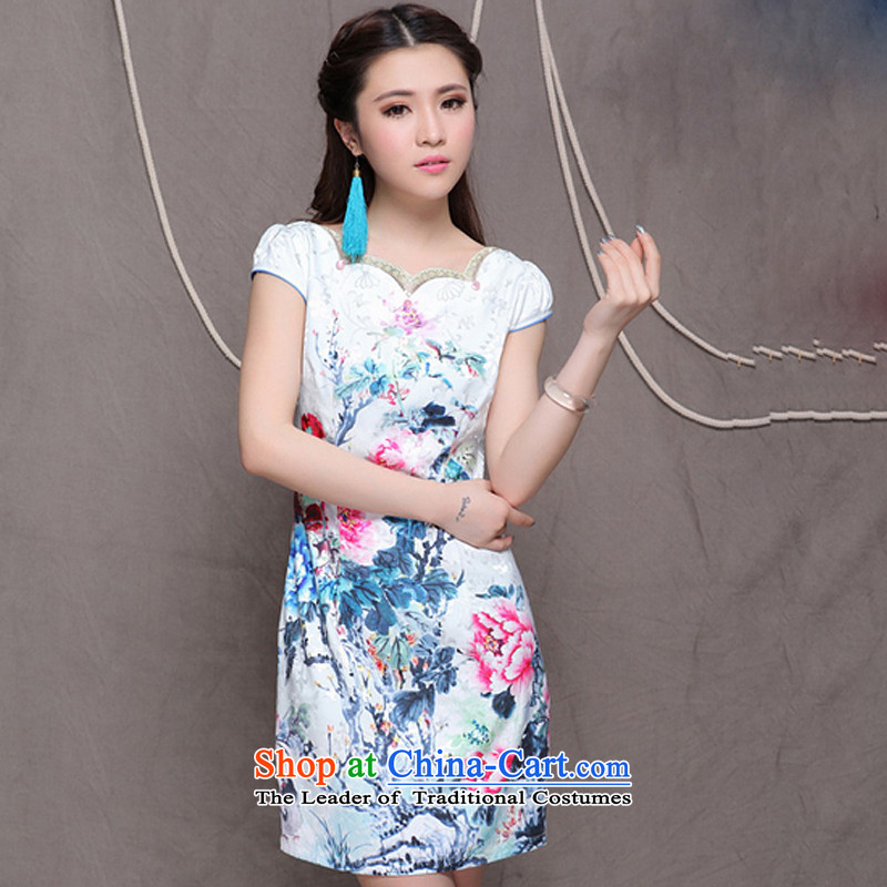 The end of the light (QM) China wind of ethnic women improved stylish commuter Sau San video thin cheongsam ZMY9904 map color�XL