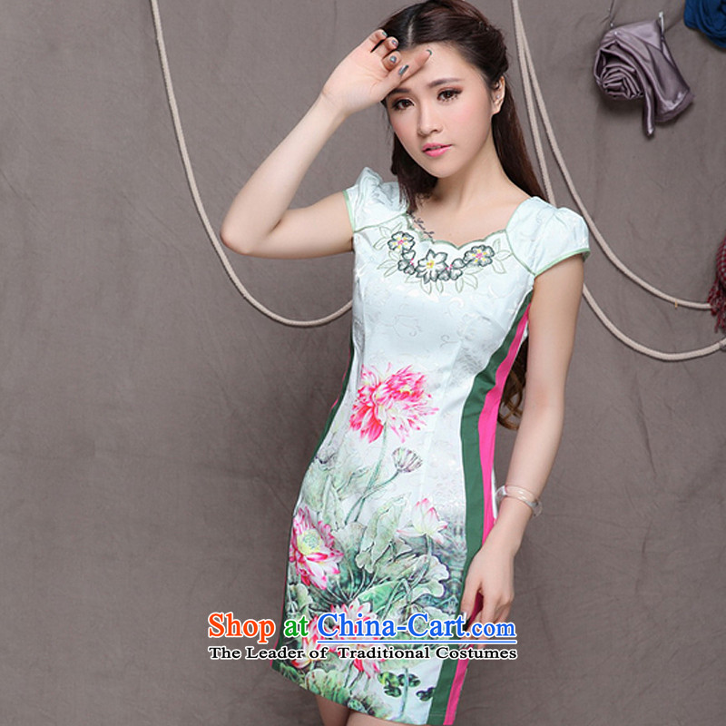 The end of the light _QM_ China wind stylish ethnic improved cheongsam dress temperament dresses ZMY9909 map color燣