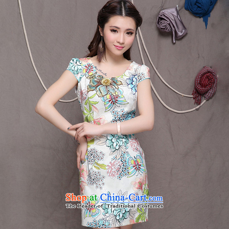 The end of the light _QM_ OF ETHNIC CHINESE WOMEN cheongsam dress retro embroidery cheongsam dress ZMY9907 apricot XL