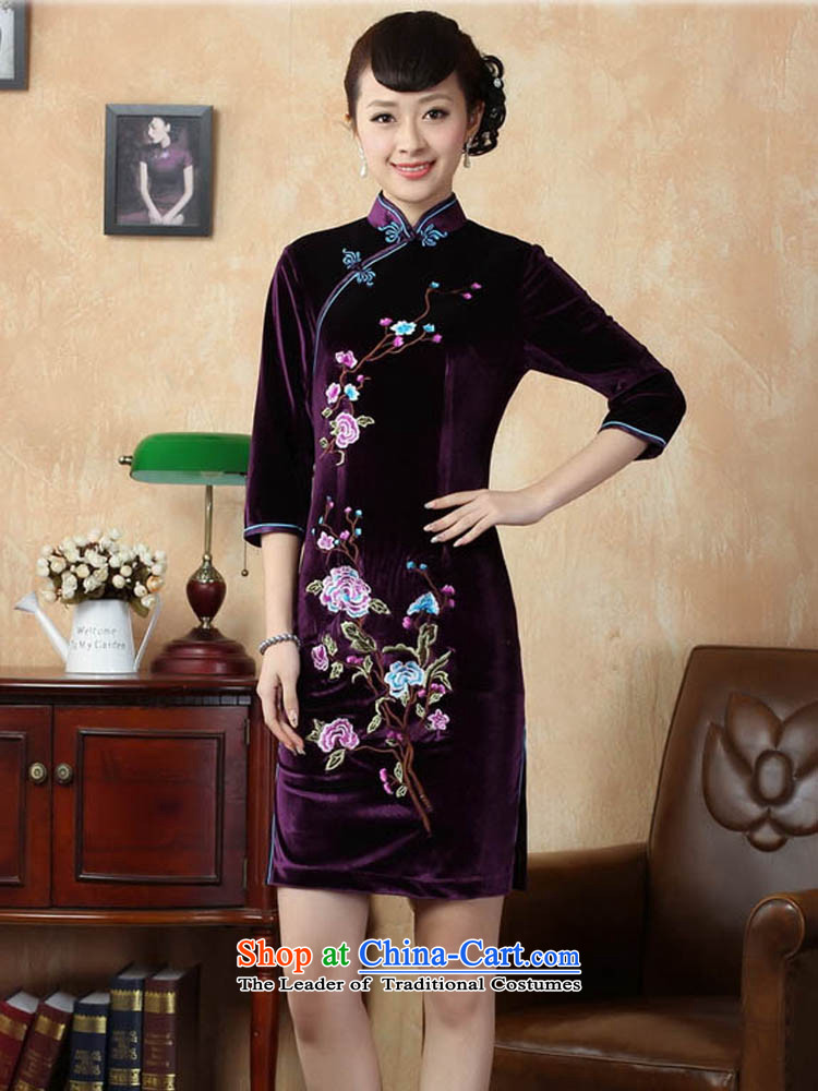 Ko Yo Overgrown Tomb 2015 new qipao Gigi Lai stylish 7/improved handicraft embroidery scouring pads qipao and the dress short skirt TD0010 QIPAO 165/L violet picture, prices, brand platters! The elections are supplied in the national character of distribution, so action, buy now enjoy more preferential! As soon as possible.