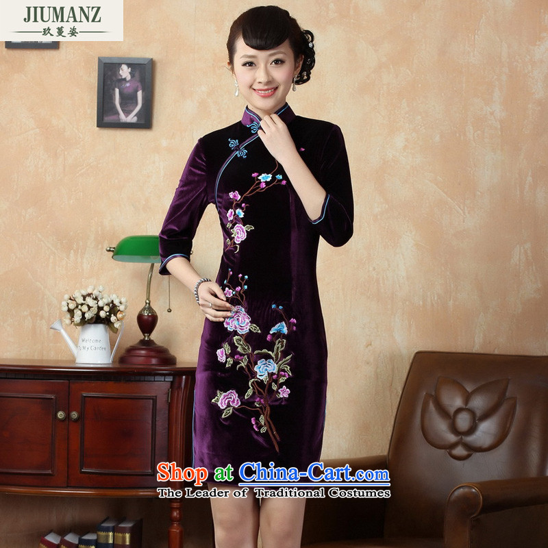Ko Yo Overgrown Tomb 2015 new qipao Gigi Lai stylish 7/improved handicraft embroidery scouring pads qipao and the dress short skirt TD0010 QIPAO 165/L violet