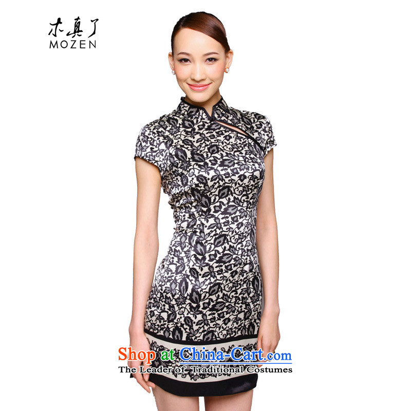 True 2015 : New Silk Cheongsam dress the Sau San stamp improved Silk Dresses 11548 01 black XXL