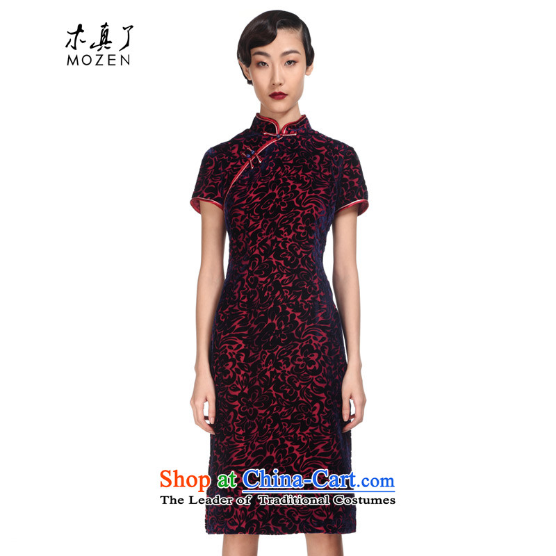 A qipao wood really spring 2015 new really improved qipao gown of Sau San velvet skirt with Mr Ronald 11543 16 mother Deep Violet?L