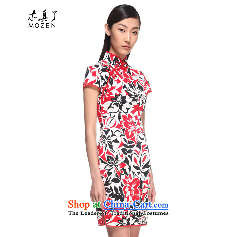 Wood, an improved cheongsam dress really 2015 Summer New elegant floral cotton cheongsam dress female 00980 05 light red?L