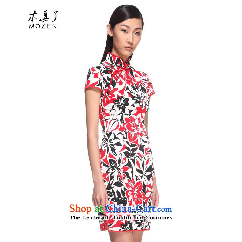 Wood, an improved cheongsam dress really 2015 Summer New elegant floral cotton cheongsam dress female 00980 05 light redL