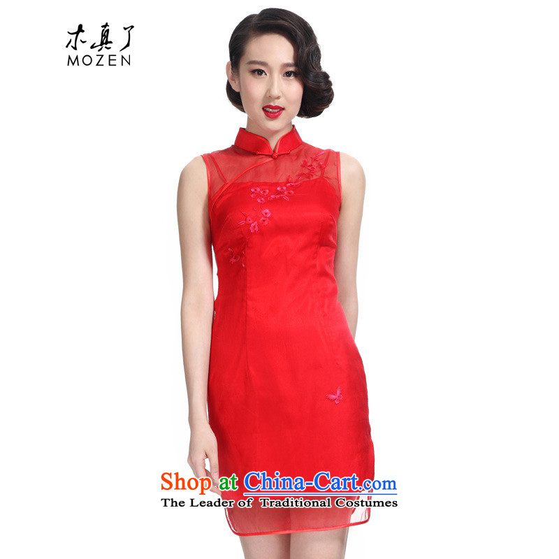 Wooden spring and summer of 2015 really new Silk hand embroidery bridal dresses with short qipao?50721 05 red?S