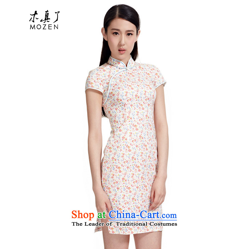 The MOZEN2015 wood really new summer of Chinese cotton small saika short of Qipao Female?01102 19-pack Light Pink?XL