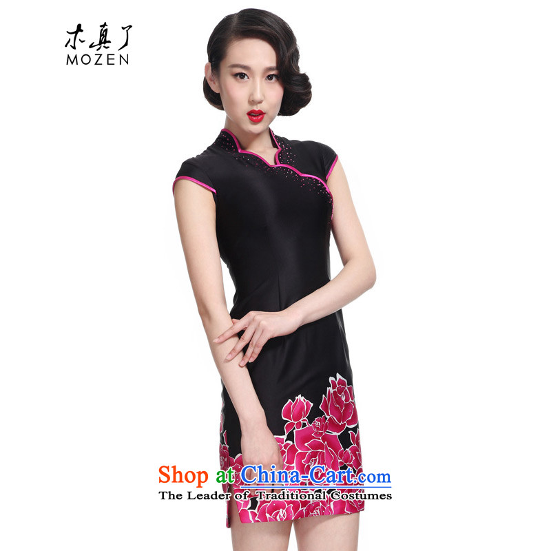 The 2015 summer wood really new products, short cheongsam dress stamp female package mail�,995 01 black燲XL