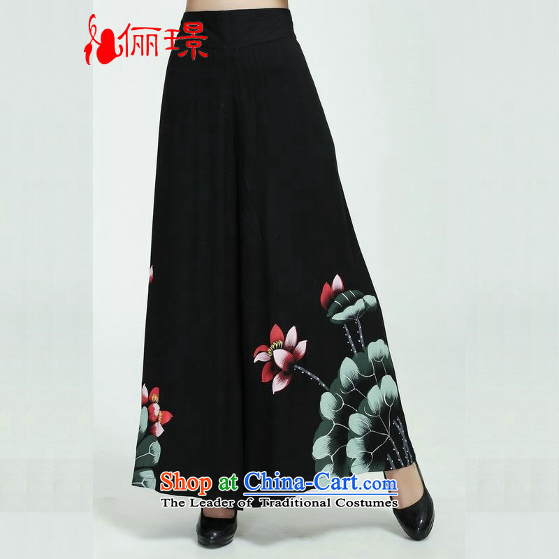 158 Jing in older children trousers press summer stamp cotton linen pants Tang mother pants and shorts of nine skort?2369 - 1 black trousers?L (Recommendation 2 - 2 feet 5 feet