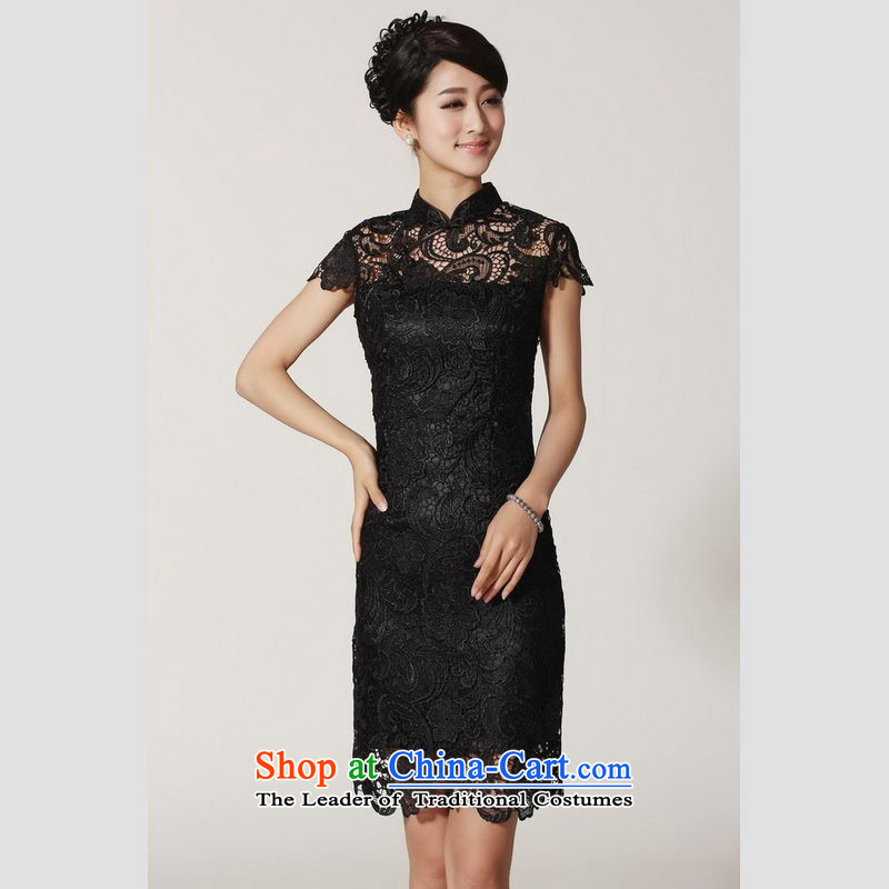 158 Jing qipao summer improved retro dresses collar natural crocheted shirt Chinese cheongsam dress in improved long?2365?Black?M recommendations 100-110 catties)