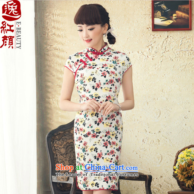 【 Yat lady- Summer Tsing du qipao improved stylish new summer short-sleeved cotton linen flax retro qipao skirt Red 2XL