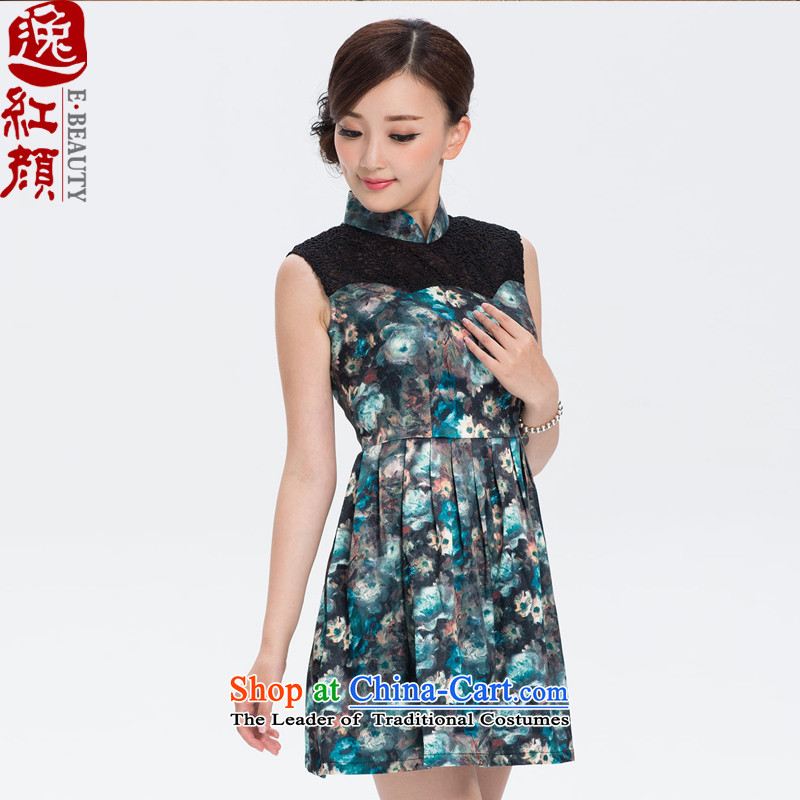 The elections as soon as possible take whispers Yat Lady�15 Summer new stylish lace qipao retro short of qipao improved skirt blue�L