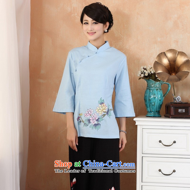 Ms. Li Jing Tong Women's clothes summer shirt collar cotton linen hand-painted Chinese Han-women in Tang Dynasty improved cuff?2380 - 1 Blue?PUERTORRICANS recommendations 85-100 catties)